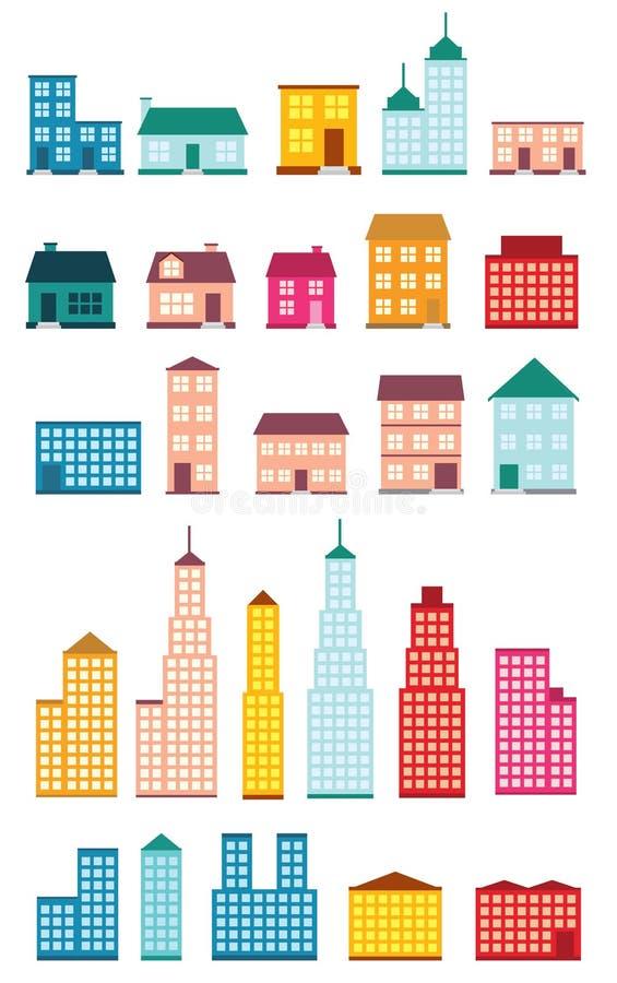 Σύνολο εικονιδίων των σπιτιών. διανυσματική απεικόνιση
