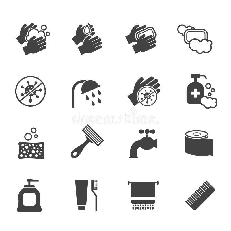 Σύνολο εικονιδίων υγιεινής Διανυσματικά μαύρα εικονίδια των χεριών πλύσης και του αντιβακτηριακού σαπουνιού διανυσματική απεικόνιση