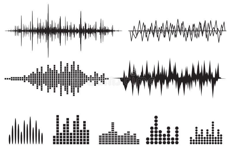 Σύνολο εικονιδίων υγιών κυμάτων Εικονίδια μουσικής soundwave καθορισμένα Εξισώστε το ακουστικό α απεικόνιση αποθεμάτων