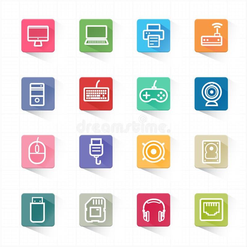 Σύνολο εικονιδίων υπολογιστών και άσπρο υπόβαθρο απεικόνιση αποθεμάτων