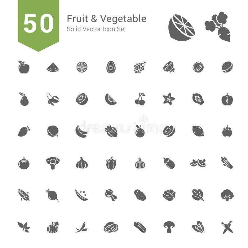 Σύνολο εικονιδίων φρούτων και λαχανικών 50 στερεά διανυσματικά εικονίδια ελεύθερη απεικόνιση δικαιώματος