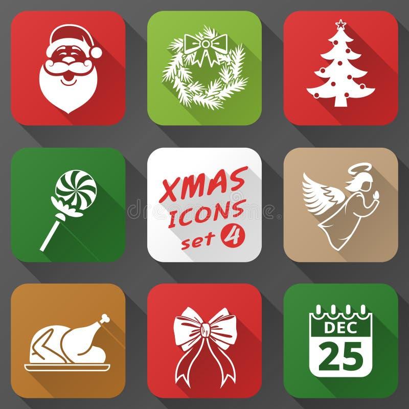 Σύνολο εικονιδίων Χριστουγέννων στο επίπεδο ύφος απεικόνιση αποθεμάτων