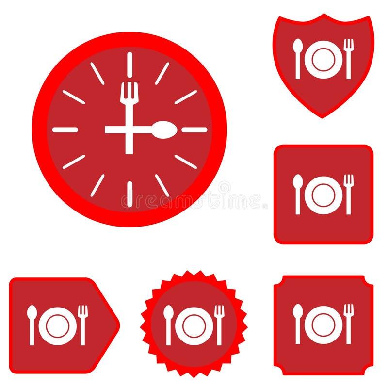 Σύνολο εικονιδίων χρονικών τροφίμων μεσημεριανού γεύματος απεικόνιση αποθεμάτων