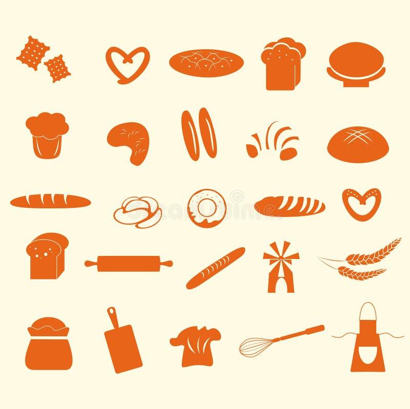 Σύνολο εικονιδίων ψωμιού και αρτοποιείων διανυσματική απεικόνιση