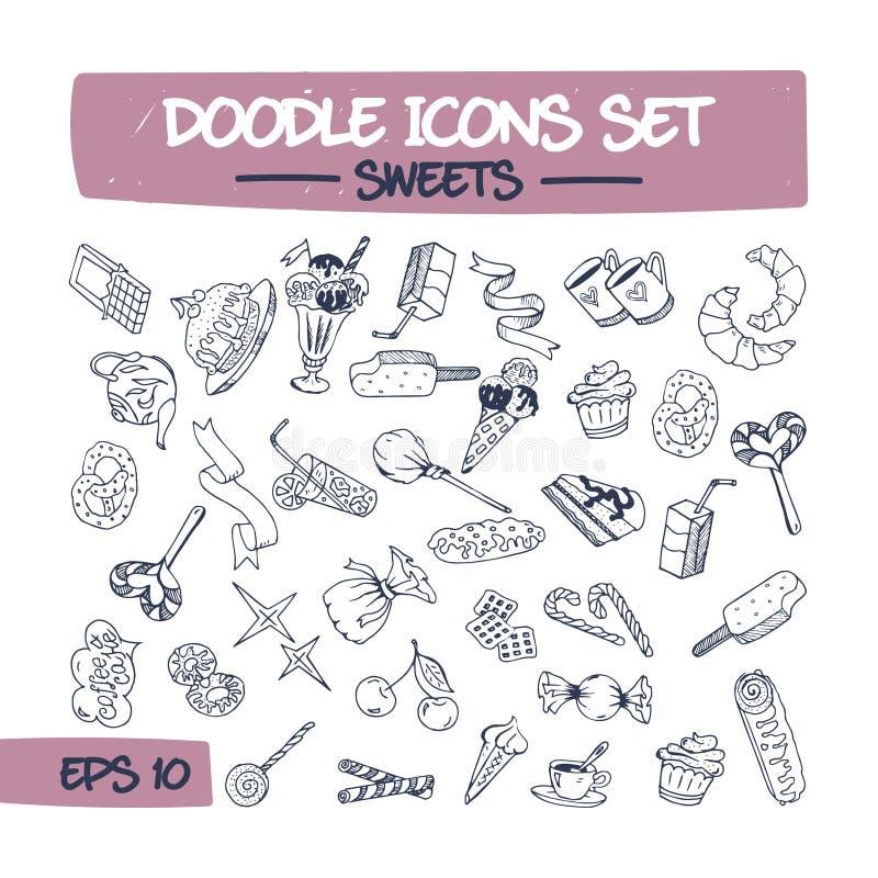 Σύνολο εικονιδίων Doodle γλυκών και ζυμών ελεύθερη απεικόνιση δικαιώματος