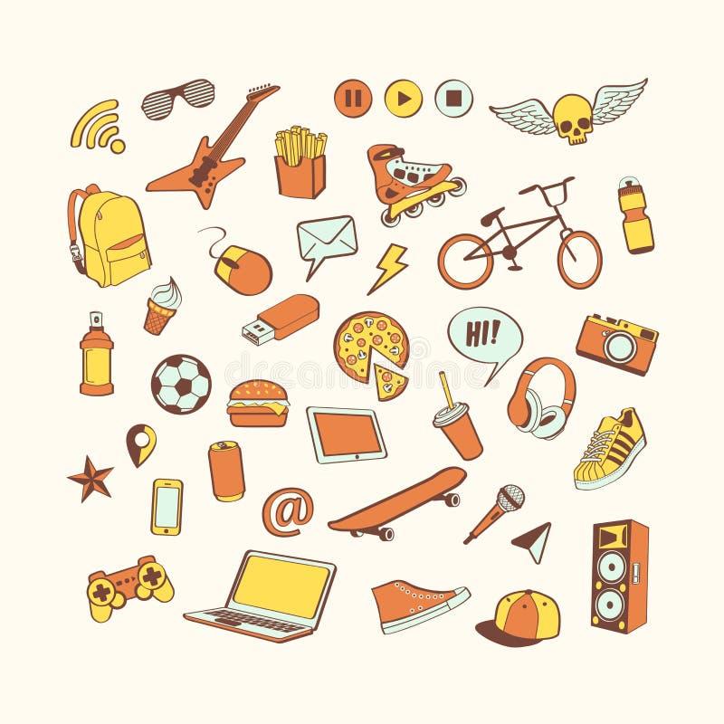 Σύνολο εικονιδίων Doodle Χρωματισμένη συρμένη χέρι συλλογή των στοιχείων doodle για το σχέδιο Σύνολο για το αγόρι ή τον έφηβο διανυσματική απεικόνιση