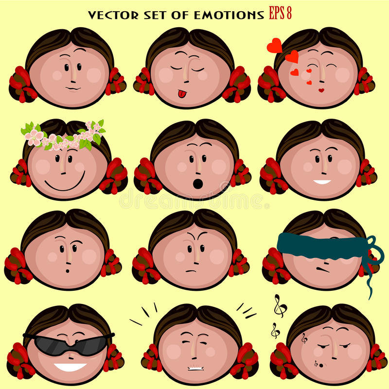 Σύνολο εικονιδίων Emoticon χαριτωμένου κοριτσιού με τις διάφορες συγκινήσεις, emoji, του προσώπου, αίσθημα, διάθεση, προσωπικότητ στοκ φωτογραφία με δικαίωμα ελεύθερης χρήσης