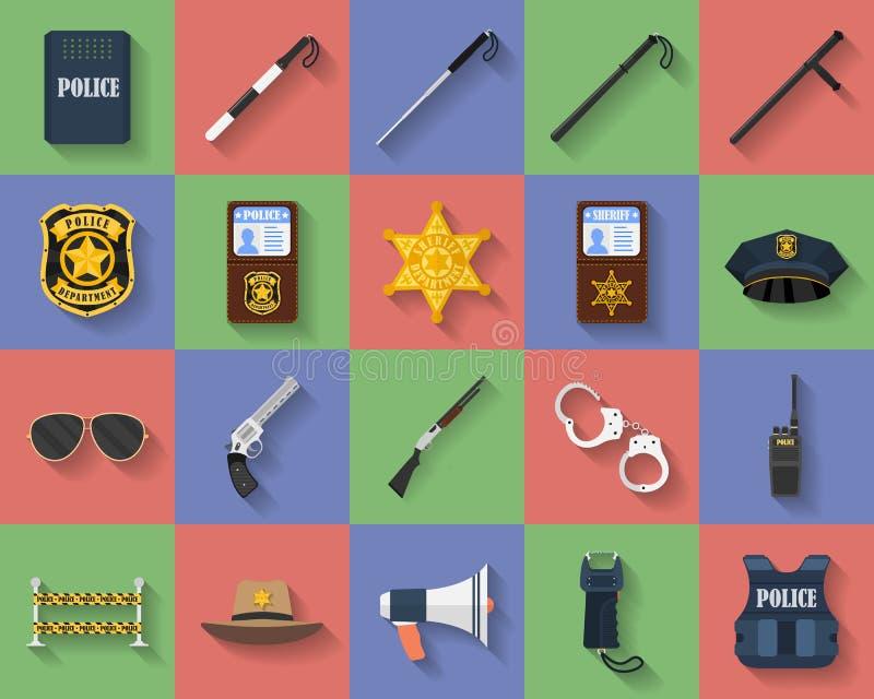 Σύνολο εικονιδίων regimentals αστυνομίας, ομοιόμορφο, όπλα διανυσματική απεικόνιση