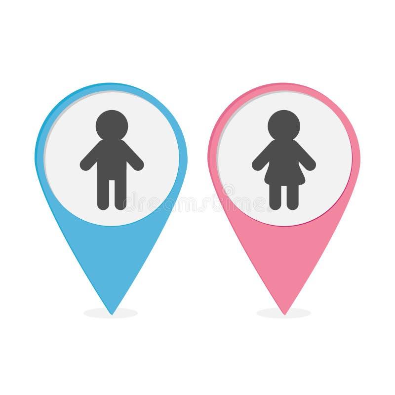 Σύνολο δεικτών χαρτών Ρόδινοι και μπλε στρογγυλοί δείκτες εικονιδίων γυναικών ανδρών Το σύμβολο χώρων ανάπαυσης απομόνωσε το άσπρ ελεύθερη απεικόνιση δικαιώματος