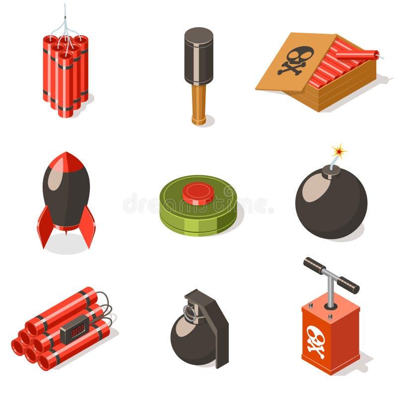 Σύνολο εκρηκτικών εικονιδίων όπλων διανυσματική απεικόνιση