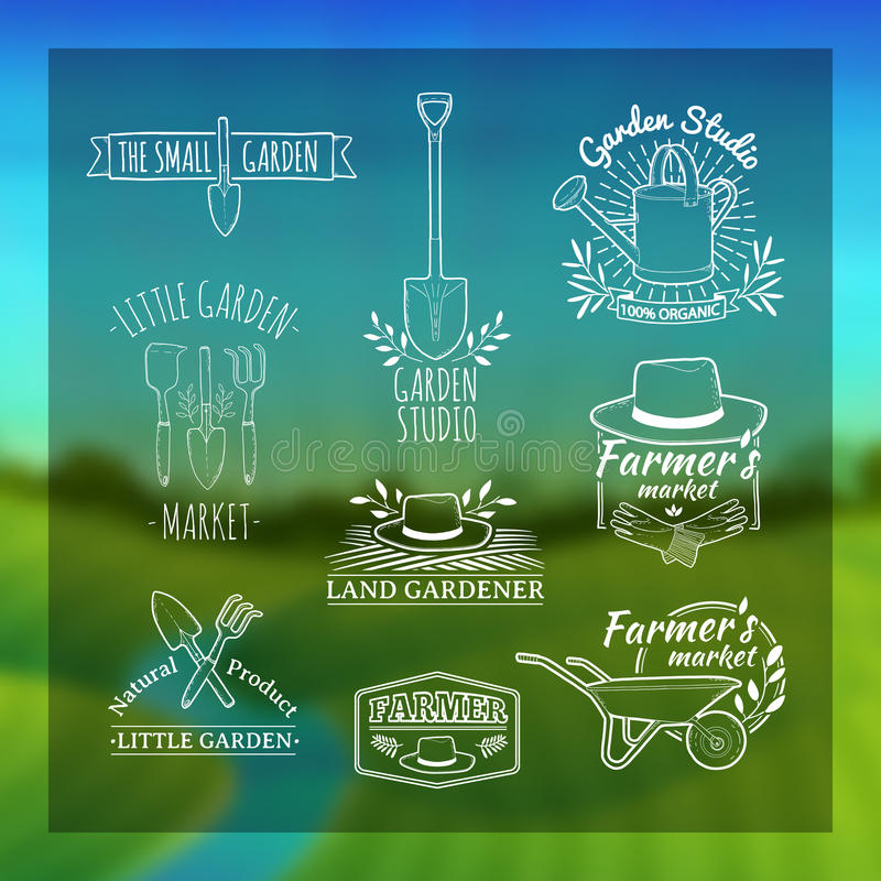 Σύνολο εκλεκτής ποιότητας αναδρομικών λογότυπων, διακριτικά, διακριτικά, ετικέτες απεικόνιση αποθεμάτων