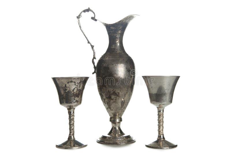 Σύνολο εκλεκτής ποιότητας ασημένια καλυμμένα goblets που απομονώνεται στοκ εικόνες με δικαίωμα ελεύθερης χρήσης