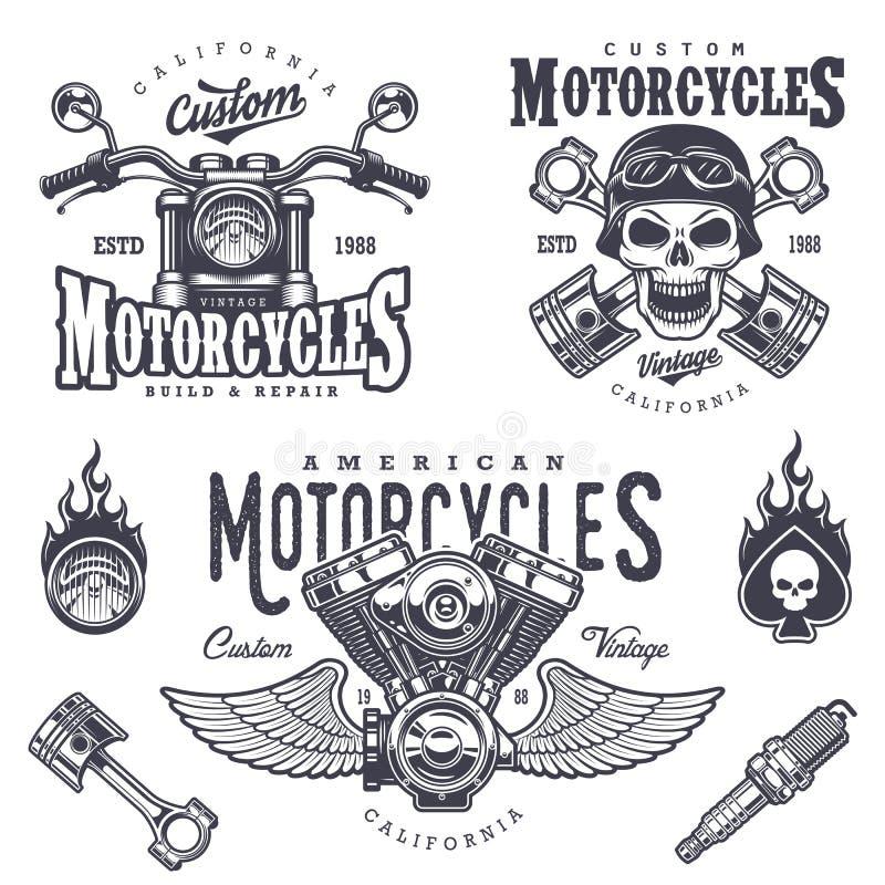 Σύνολο εκλεκτής ποιότητας εμβλημάτων μοτοσικλετών ελεύθερη απεικόνιση δικαιώματος