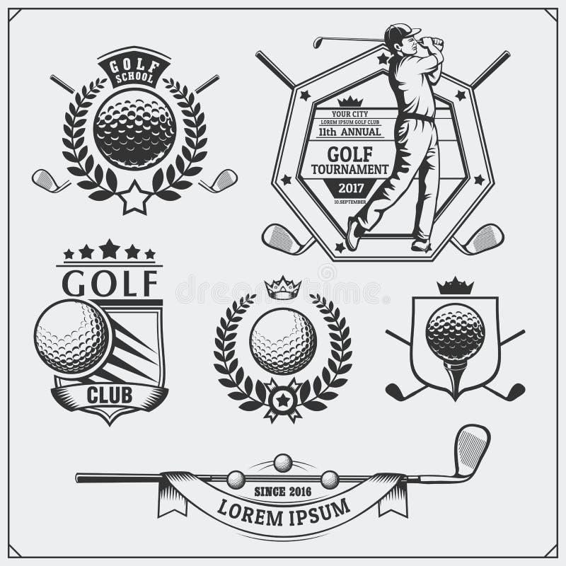 Σύνολο εκλεκτής ποιότητας ετικετών γκολφ, διακριτικών, εμβλημάτων και στοιχείων σχεδίου διανυσματική απεικόνιση