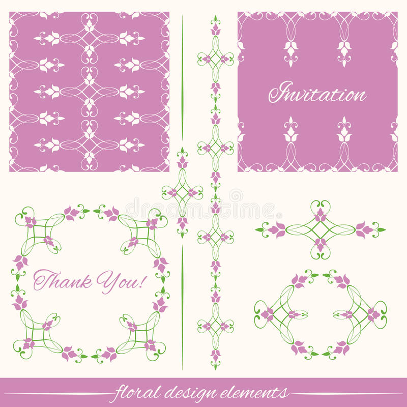 Σύνολο εκλεκτής ποιότητας διακοσμητικού καλλιγραφικού floral desi απεικόνιση αποθεμάτων
