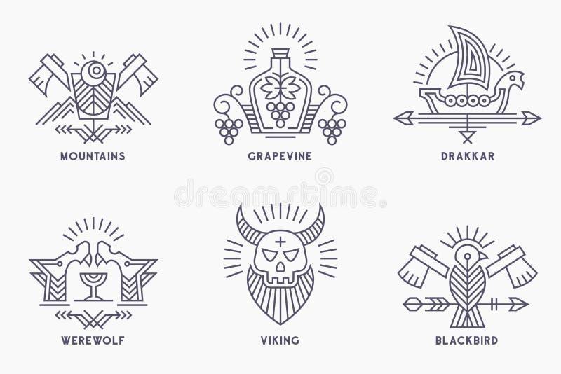 Σύνολο εκλεκτής ποιότητας διανυσματικών προτύπων λογότυπων με τα εθνικά στοιχεία στο λεπτό ύφος γραμμών διανυσματική απεικόνιση