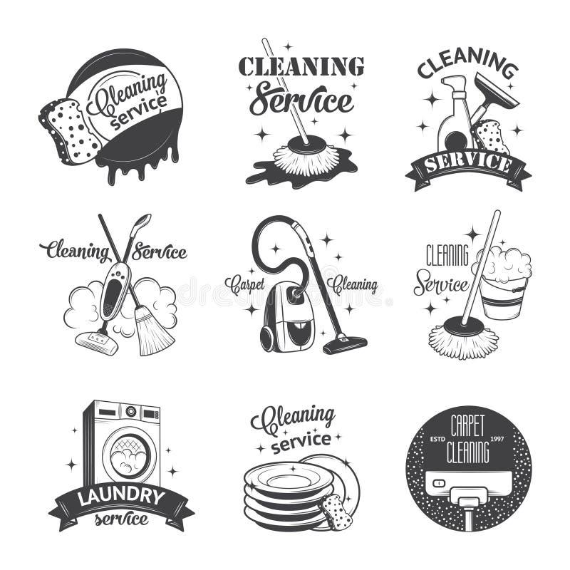Σύνολο εκλεκτής ποιότητας καθαρισμού λογότυπων, ετικετών και διακριτικών απεικόνιση αποθεμάτων