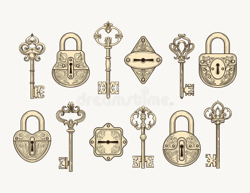 Σύνολο εκλεκτής ποιότητας κλειδιών και κλειδαριών ελεύθερη απεικόνιση δικαιώματος
