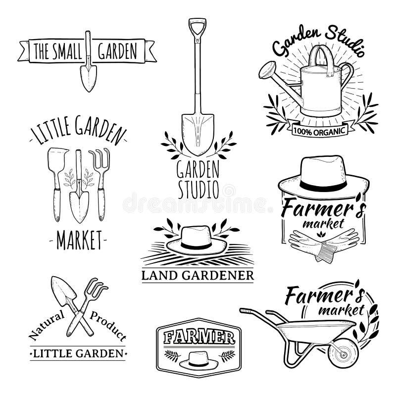 Σύνολο εκλεκτής ποιότητας μονοχρωματικών αναδρομικών λογότυπων, διακριτικά ελεύθερη απεικόνιση δικαιώματος