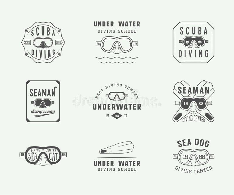 Σύνολο εκλεκτής ποιότητας λογότυπων, ετικετών, διακριτικών και εμβλημάτων κατάδυσης σκαφάνδρων απεικόνιση αποθεμάτων