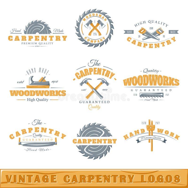 Σύνολο εκλεκτής ποιότητας λογότυπων ξυλουργικής στοκ εικόνες με δικαίωμα ελεύθερης χρήσης