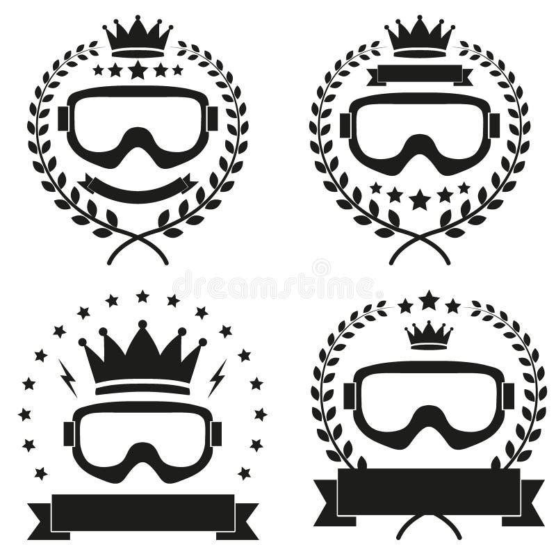 Σύνολο εκλεκτής ποιότητας πάγου Snowboarding ή διακριτικού λεσχών ΣΚΙ διανυσματική απεικόνιση