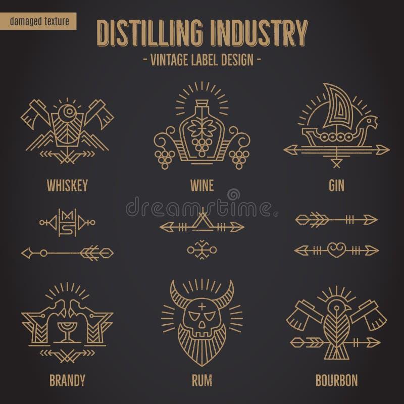 Σύνολο εκλεκτής ποιότητας συμβόλων ποτών οινοπνεύματος με τα εθνικά στοιχεία στο λεπτό ύφος γραμμών απεικόνιση αποθεμάτων