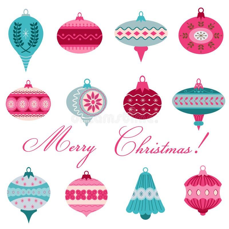 Σύνολο εκλεκτής ποιότητας σφαιρών χριστουγεννιάτικων δέντρων διανυσματική απεικόνιση