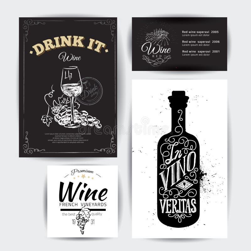 Σύνολο εκλεκτής ποιότητας τυπογραφικών αποσπασμάτων κρασιού διανυσματική απεικόνιση