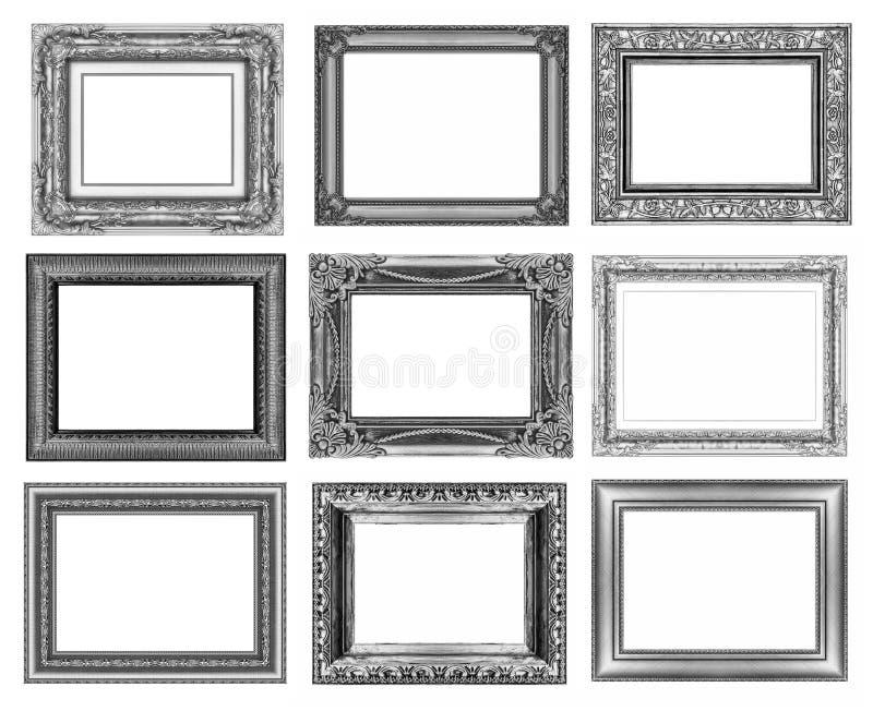 Σύνολο 9 εκλεκτής ποιότητας χρυσού - γκρίζο πλαίσιο που απομονώνεται στο άσπρο υπόβαθρο στοκ εικόνα