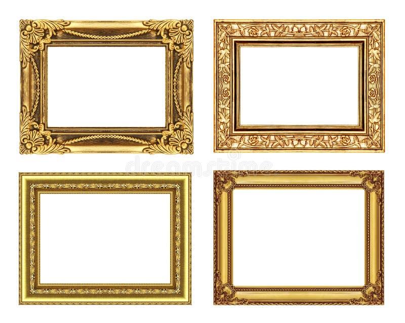 Σύνολο 4 εκλεκτής ποιότητας χρυσού πλαισίου με το κενό διάστημα, πορεία ψαλιδίσματος στοκ εικόνα με δικαίωμα ελεύθερης χρήσης