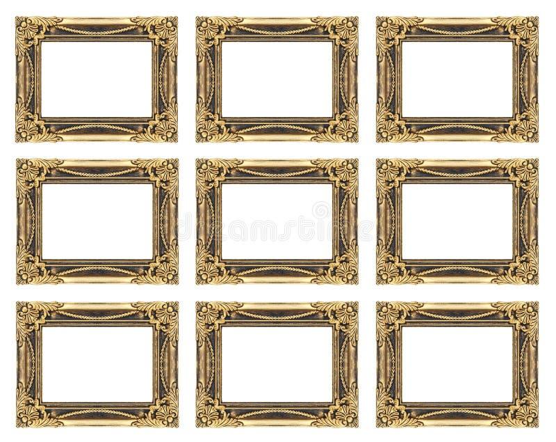 σύνολο 9 εκλεκτής ποιότητας χρυσού πλαισίου που απομονώνεται στο άσπρο υπόβαθρο στοκ εικόνες