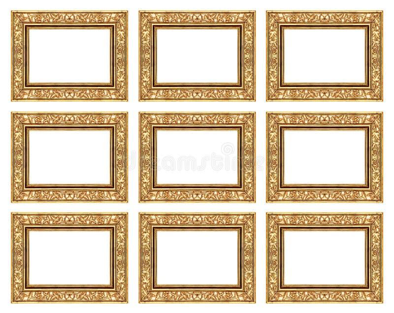 σύνολο 9 εκλεκτής ποιότητας χρυσού πλαισίου που απομονώνεται στο άσπρο υπόβαθρο στοκ φωτογραφία