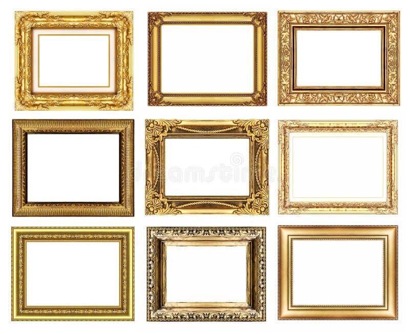 σύνολο 9 εκλεκτής ποιότητας χρυσού πλαισίου που απομονώνεται στο άσπρο υπόβαθρο στοκ εικόνα