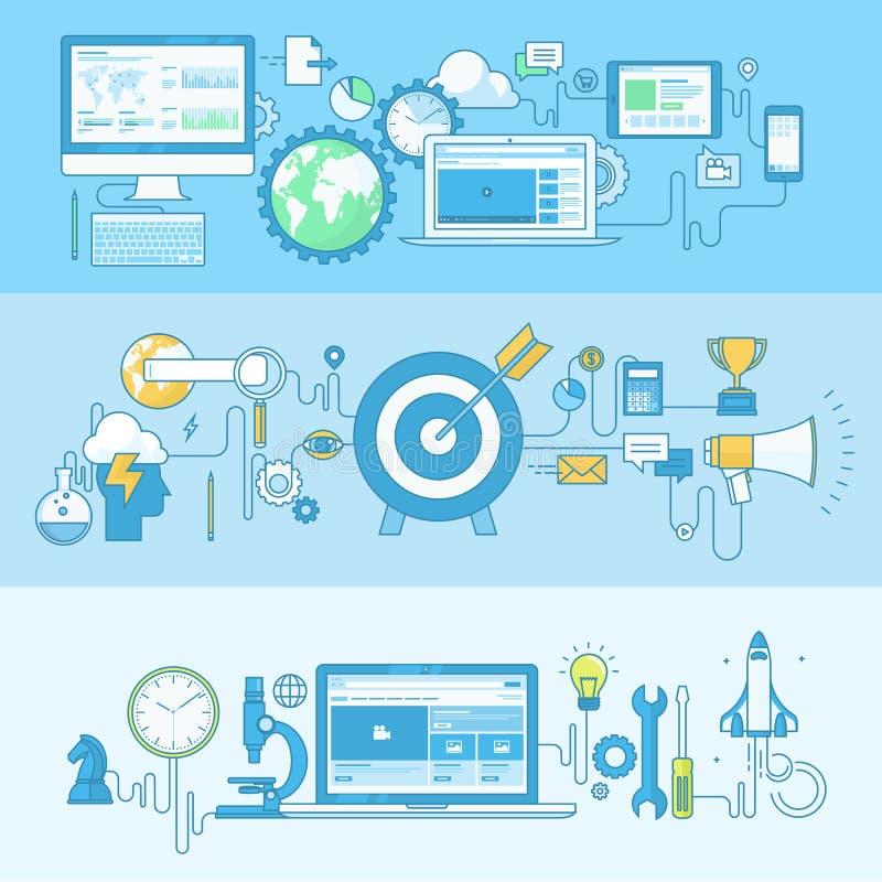 Σύνολο εμβλημάτων έννοιας γραμμών για την ανάπτυξη Ιστού, επιχείρηση, μάρκετινγκ διανυσματική απεικόνιση