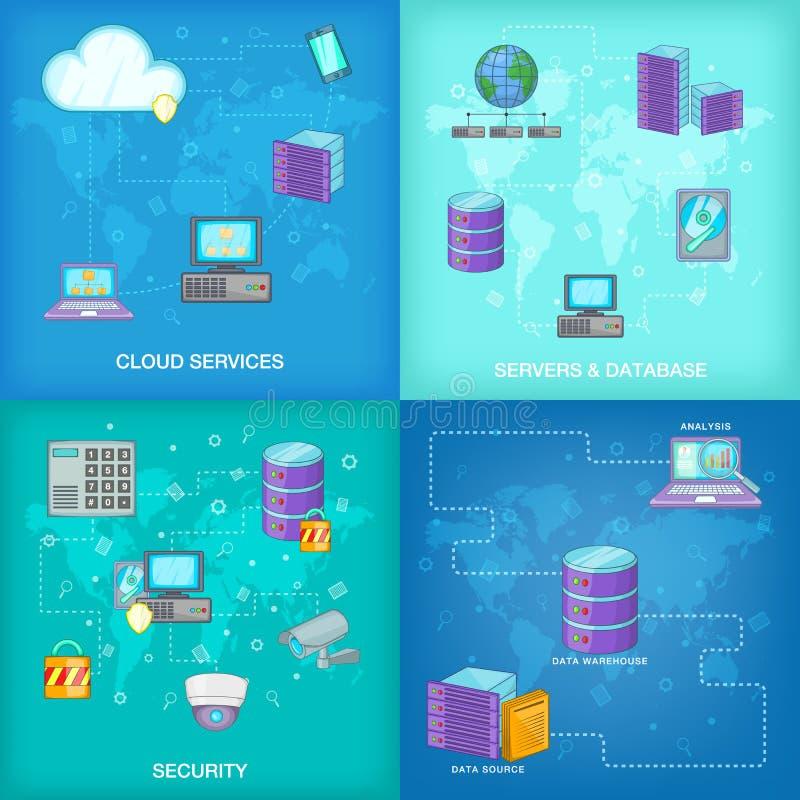 Σύνολο εμβλημάτων βάσεων δεδομένων, ύφος κινούμενων σχεδίων διανυσματική απεικόνιση