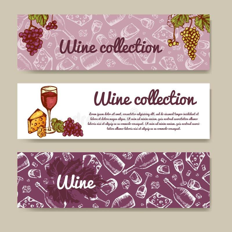 Σύνολο εμβλημάτων για την επιχείρηση Επιλογές κρασιού Θέμα εστιατορίων επίσης corel σύρετε το διάνυσμα απεικόνισης απεικόνιση αποθεμάτων