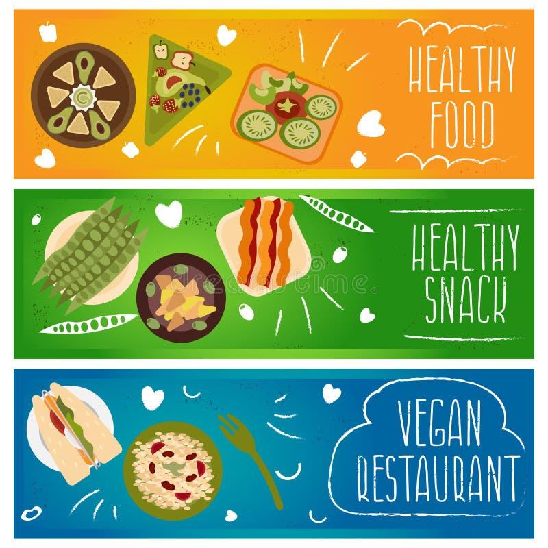 Σύνολο εμβλημάτων για το θέμα υγιές, τρόφιμα χορτοφάγων Διάνυσμα ι ελεύθερη απεικόνιση δικαιώματος