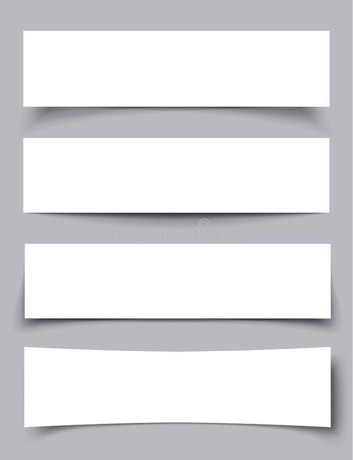Σύνολο εμβλημάτων εγγράφου με τις σκιές διανυσματική απεικόνιση