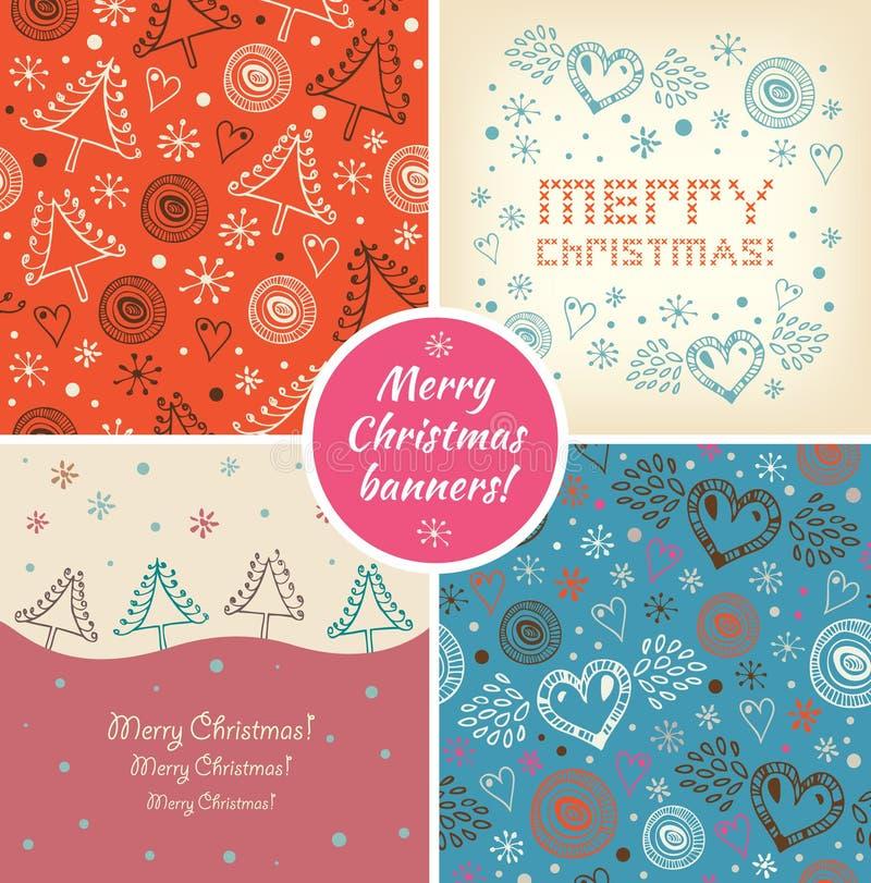 Σύνολο εμβλημάτων διακοπών Χριστουγέννων Συλλογή των διακοσμητικών στοιχείων Χριστουγέννων απεικόνιση αποθεμάτων