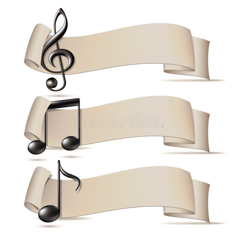 Σύνολο εμβλημάτων με τα εικονίδια μουσικής. διανυσματική απεικόνιση