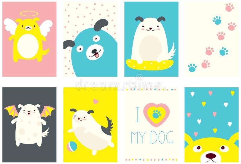 Σύνολο εμβλημάτων με τα χαριτωμένα σκυλιά διανυσματική απεικόνιση