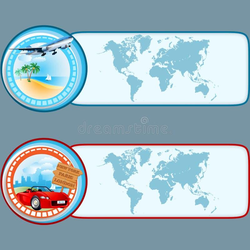Σύνολο εμβλημάτων με το σχέδιο ταξιδιού, γραφικά πρότυπα ελεύθερη απεικόνιση δικαιώματος