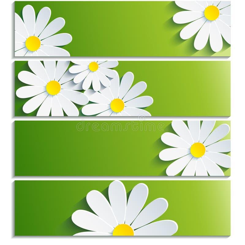 Σύνολο εμβλημάτων με το τρισδιάστατο λουλούδι chamomile διανυσματική απεικόνιση