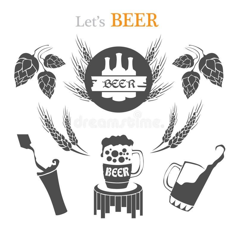Σύνολο εμβλημάτων μπύρας, συμβόλων, λογότυπου, διακριτικών, σημαδιών, εικονιδίων και στοιχείων σχεδίου στοκ εικόνες