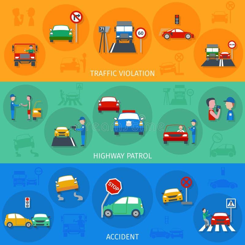 Σύνολο εμβλημάτων παραβίασης κυκλοφορίας διανυσματική απεικόνιση