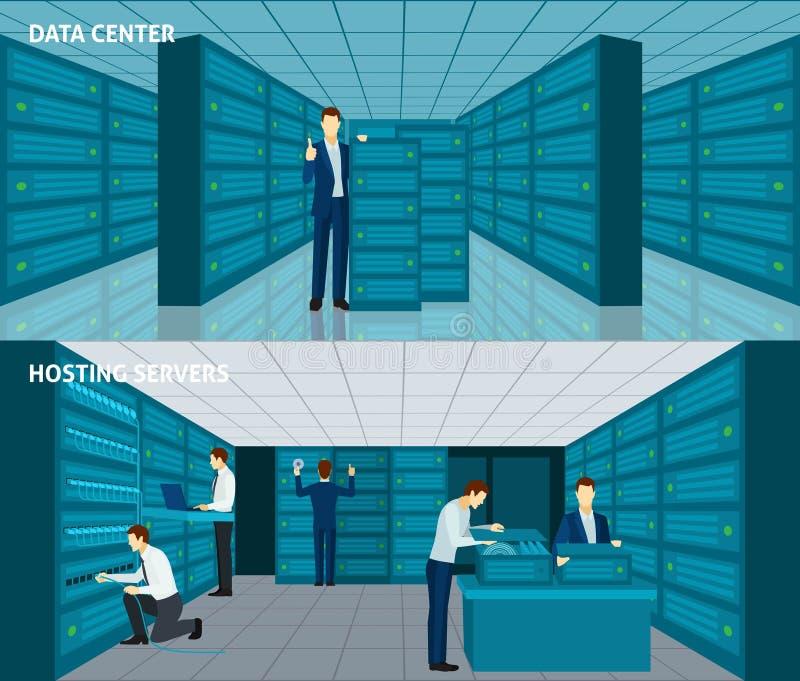 Σύνολο εμβλημάτων Datacenter ελεύθερη απεικόνιση δικαιώματος