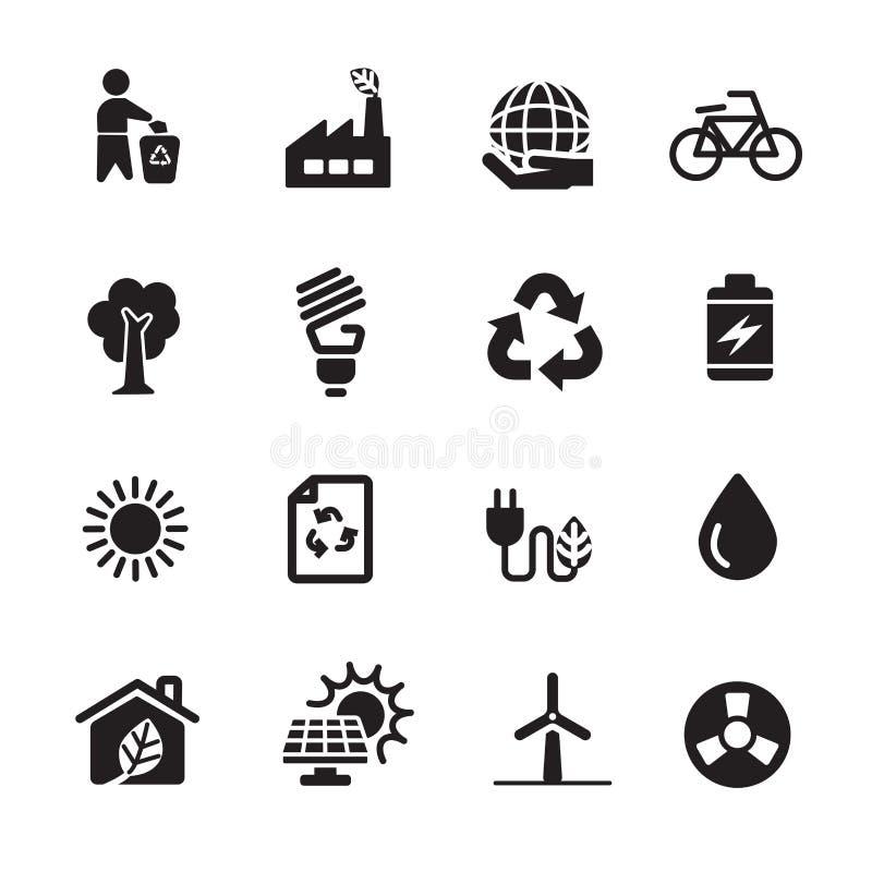 Σύνολο ενεργειακών εικονιδίων οικολογίας, διανυσματικό eps10 διανυσματική απεικόνιση