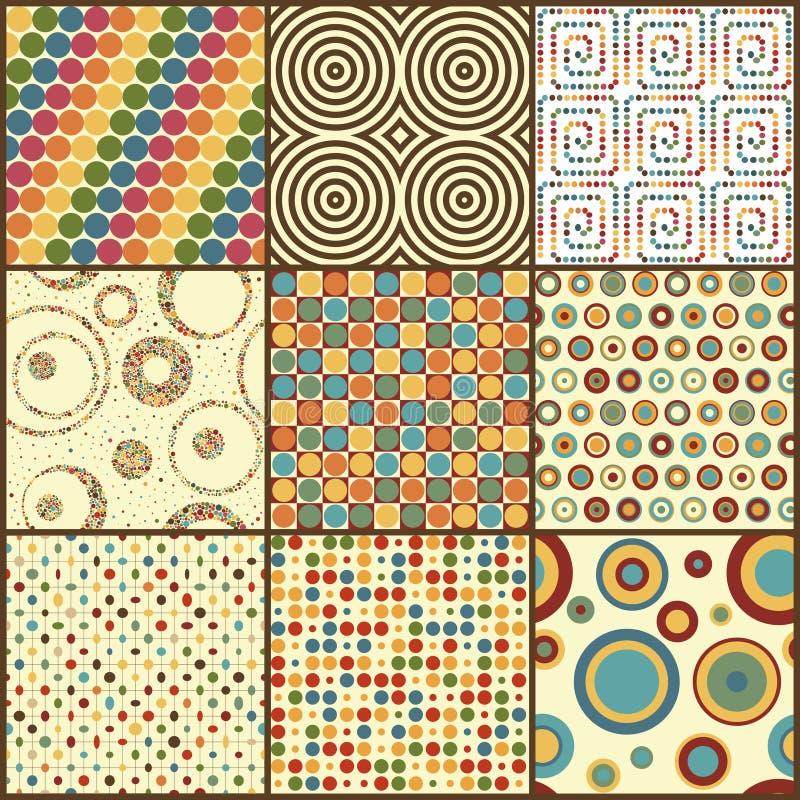 Σύνολο εννέα αναδρομικών γεωμετρικών άνευ ραφής σχεδίων με τους κύκλους ελεύθερη απεικόνιση δικαιώματος