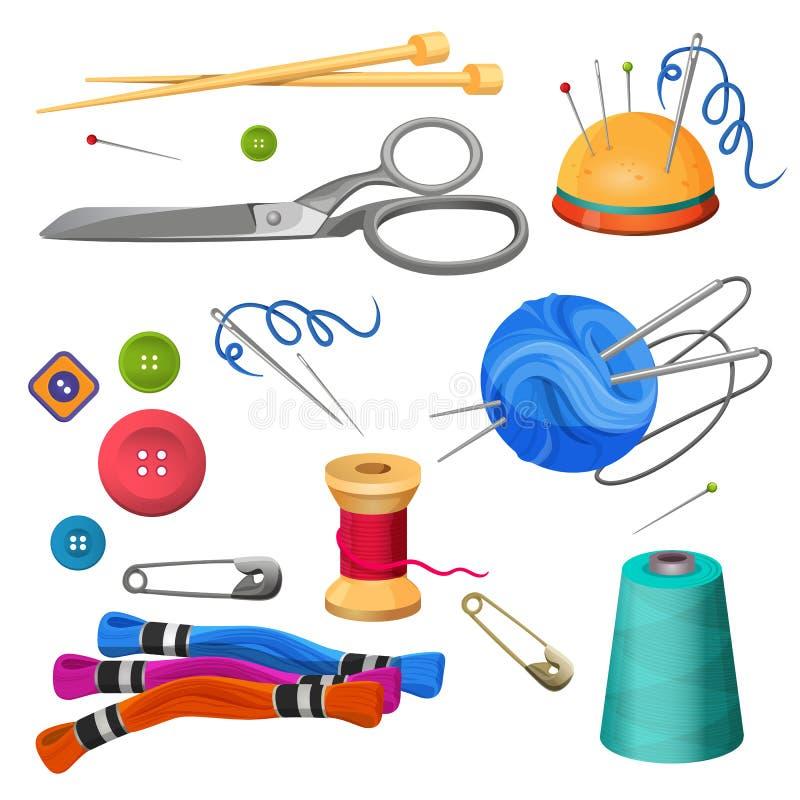 Σύνολο εξαρτημάτων για το ράψιμο και τη βιοτεχνία Ζωηρόχρωμα μασούρια διανυσματική απεικόνιση